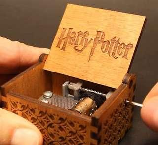 Harry Potter Music Box Movie Theme Engraved Wooden Hand Crank Black MusicalBoxes