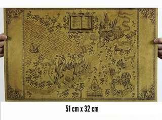 Wizarding World Of Harry Potter Marauders Map Poster Vintage Paper Wall 51x32cm