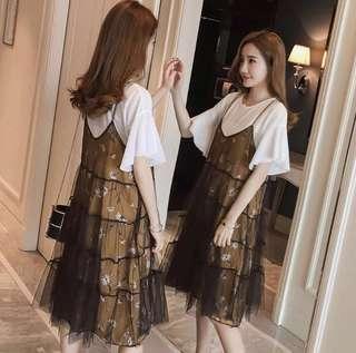 Double layered pretty lace 2-pcs Dress