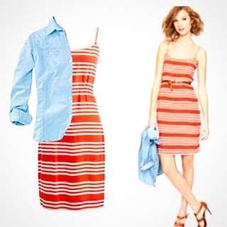 J Crew Blouson Stripe Summer Dress size 2