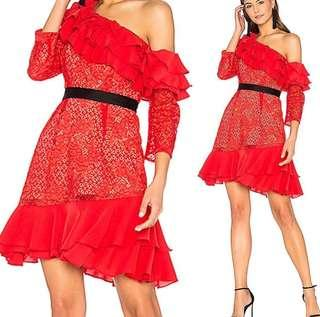 For Love and Lemons Red Lace Dress Size L