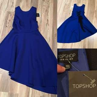 Topshop Cobalt Blue high/low Dress Size US 6