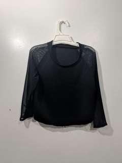 Sheer Sleeves Cropped Shirt
