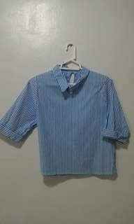 Blue and White Stripes Polo Top