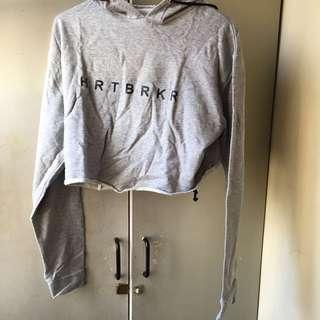 Gray cropped top hoodie
