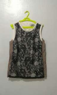 Cream top with Black lace