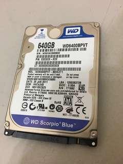 WD Scorpion Blue 640gb Laptop Internal Hard Disk