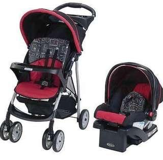 Graco Baby Stroller with Detachable Car Seat Red