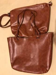 REPRICED!! 800 + sf Percy Laureti 2in1 Tote Leather Bag