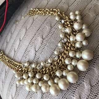 Party necklace diamond pearl