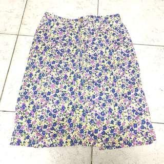 Japan vintage 紫藍色碎花半截裙