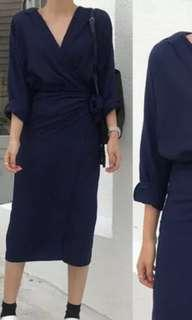 Navy blue wrap dress free size
