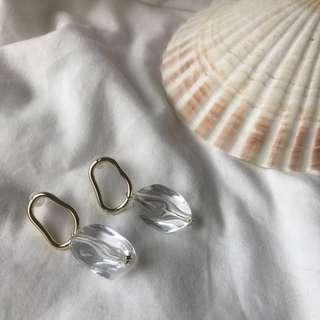 🚚 S925金屬透明石純銀耳環