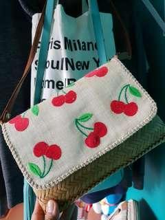 Cherry print native small bag