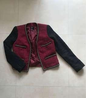 Red Blazer with Gold Chain Accents