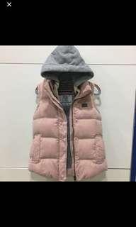 SLY日系粉色舖棉連帽背心