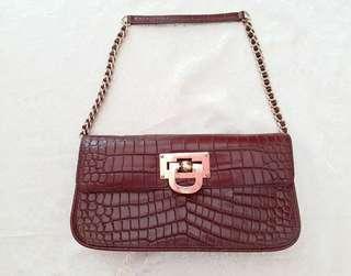 DKNY crocodile embossed handbag [ 新年優惠 ]鱷魚紋斯文,晚宴手袋