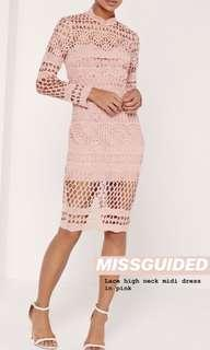 Misguided high neck lace dress