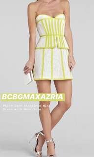 BcbgMAXazria white lace neon trim mini dress