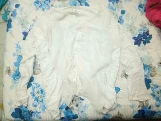 White oversize long sleeve shirt blouse