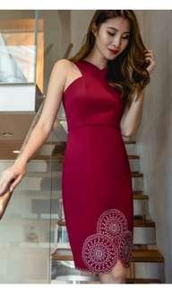 Wine red fitted dress #CNY888
