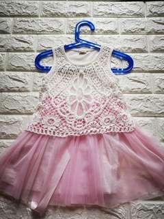 Sweet pink and white dress for girls