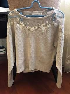 cocodeal 9成新 透視刺繡針織上衣
