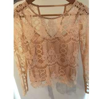 River Island Pink Lace Top