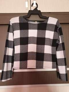 Checked Knitted Top