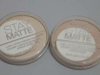 Rimmel Stay Matte Pressed Powder in Tranlucent and Silky Beige