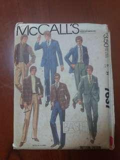 McCall's 7637 men size 34 pattern