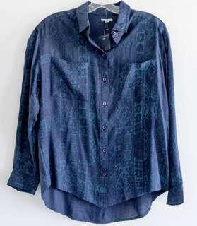 Ecote Urban Outfitters NWT new boho shirt blue M medium loose fit