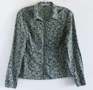 Eric Alexandre green blue floral shirt size 6 small medium