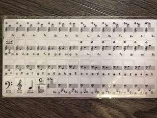Transparent Piano Keyboard Sticker 49/61 Key Electronic Keyboard 88 Key Piano Stave Note Sticker for White Keys