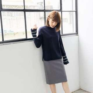 Circle's Cinema Navy Bell Sleeve Sweater