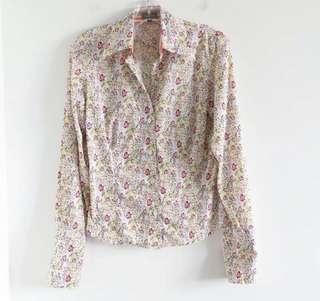 Marc Aurel light green floral shirt size 4 small