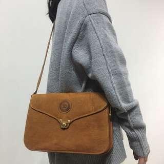 🚚 古著 Vintage 70's 象皮古董包 側背包 Genuine Leather 真皮