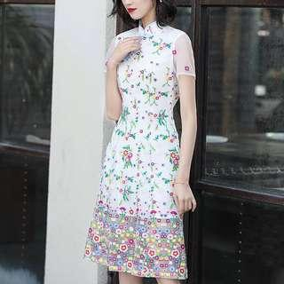 Floral lace embroidered dress cheongsam Qipao plus size