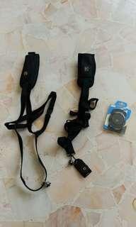 2x Used Quick Sling Strap + lens cap holder
