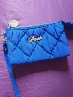 Royal blue double zip pouch