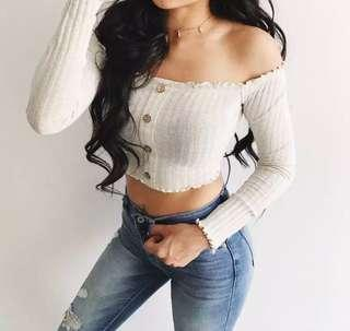 ribbed off shoulder top button