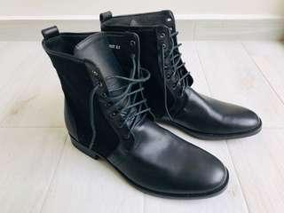 BN Heutchy Black Leather & Twill Canvas Boots - Men's