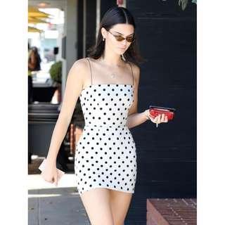 White and Black Strap Polka Dot Dress