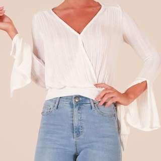 Showpo white knit wrap top