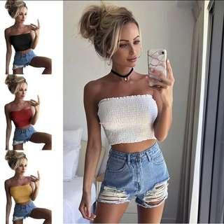 ruffled tube top bandeau strapless wrap camisole tank