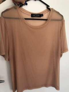 Evil twin size L see through mesh pink top