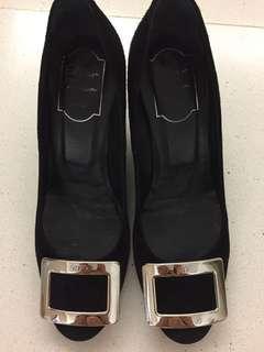 Roger Vivier Belle De Nuit T65 Black Suede Size 37