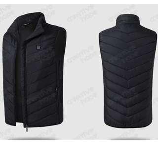 新款安全智能發熱男士背心羽絨棉外套 - 黑色 (M碼) 100%全新