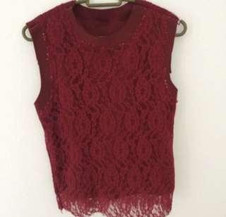 #CNY888 Red Lace Top