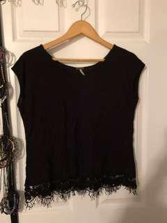 Black T-shirt with fringe detail
